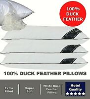 Luxury 100% Duck Feather Pillows Hotel Quality Firm Support Extra Filling