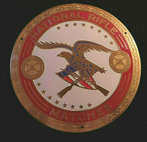 """National Rifle Matches Metal Plaque Emblem w Eagle on shield 1950s 3 1/2"""" VG+"""