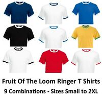 Fruit of the Loom Ringer T Tee T-shirt Contrast Hems and Collar Cotton FOTL New