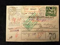 Deutsches Reich 15.06.1921 - Paketkarte von Nürnberg in die Schweiz