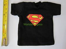 "1/6 Scale Tee Black Short Sleeves T-Shirt Superman For 12"" Action Figure"