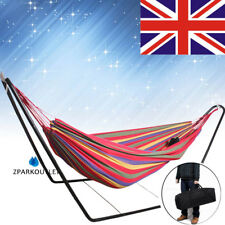 Double Hammock And Steel frame Stand combo Swinging Camping Outdoor Cotton Red