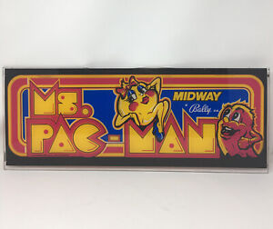 Original Vintage Ms Pac-Man Arcade Sign Marquee 1981 Video Game Midway A Bally