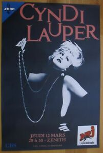 CYNDI LAUPER french original concert poster '87