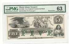 1860's $5 Rhode Island, Newport New England Commerical Bank PMG 63