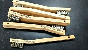 New 12 Stainless Steel Mini Wire Brushes w/wood handle -Tooth brush- Free Ship