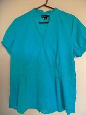 ATTENTION WOMENS BLUE BURNOUT  TOP SHIRT BLOUSE SZ XL