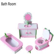 2017 Children Gift Kids Wooden Toy Furniture Doll House Set DIY Educational Toys Bath Room