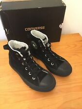 Junior Unisex Converse All-Star Chuck Taylor Black Suede Hightops Size 12.5
