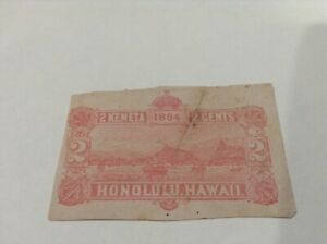 Hawaii ,2 CENT Red, view of Honolulu Bay, cut out, unpostmarked dirt mark