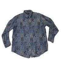 Neiman Marcus Exclusive Men's Blue Beauty Long Sleeve Button Front Shirt Size XL