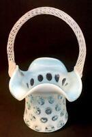 Fenton Art Glass Blue Topaz Opalescent Coin Dot Ruffled Top Basket
