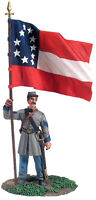 W Britain 31132 Confederate Infantry Color Sergeant At Rest 1st National Colors