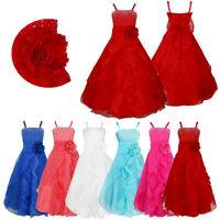 Kids Big Girls Rhinestone Ruffle Flower Girl Dress Bridesmaid Party Wedding Gown