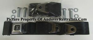 GM Seat Belt Non Retractable Black Lap Seat Belts (2) With Mounting Kit: 74""
