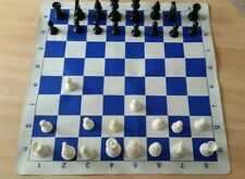 Foldable Chess Board Mat, Indoor Outdoor Chess Game with Plastic Chess Pieces