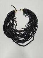 Vintage Multistrand Beaded Black Chunky Collar Necklace Brutalist Statement