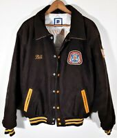 Vintage 70s 80s Corduroy Varsity Jacket Union Patch Rennoc Rockabilly USA Sz XL
