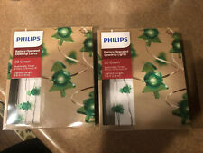 2 Boxes! Philips Battery Operated Dewdrop Lights 60 Green Christmas Trees, New!