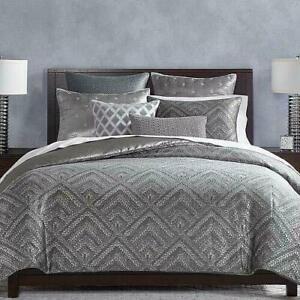 Hudson Park Woven Diamond KING Duvet Cover Gray