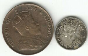 HONG KONG SILVER 1889 10cts & 1904 SUPERB ONE CENT COINS. AUCTION STARTS AT £1