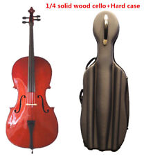 Student Model -1/4 Solid Wood Cello +Octagon stick Bow +hard case +Rosin +String