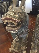 Pair Enormous Carved Wood Antique Chinese Temple Dogs Pick Up In Palm Springs