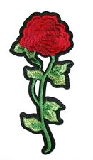 Red Rose Embroidery Sew, Iron On Patch for Clothes, Jeans Fabric Applique DIY