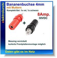 2st. presa banane, polklemme 4 mm + dadi, completamente isolato, Set 1xrot + 1 Xschwarz