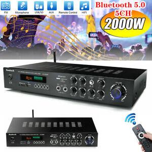 2000Watts 5 Channel Bluetooth 5.0 Home Stereo Power Amplifier HiFi Amp USB SD FM