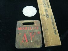 "VINTAGE MOBILE OIL GAS/OIL PUMP BRASS TAG Mobil Oil ""AF"" Oil tag W/ Red paint"