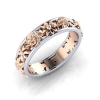 Natural Elegant 18K Rose Gold Beauty Flower Wedding Ring Jewelry Size Gift 6-10