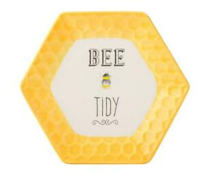 HONEYCOMBE PORCELAIN COUNTRY BUMBLE BEE BEES TEABAG TIDY YELLOW GIFT PRESENT