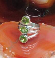 Anillo Peridoto/Olivino Verde Piedra de Agosto Plata Esterlina 925 con 3 Piedras