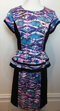 JAYSON BRUNSDON Black Label Multi Pastel Tone Short Sleeve Shift Peplum Dress 10