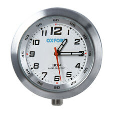 Oxford ANALOGUE CLOCK Silver & White Watch for Motorcycle/Motorbike Handlebars