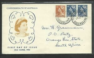 Australia1954QEII FDC Commonwealth Of Australia  CDS Queensland to South Africa