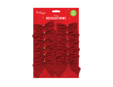 12 PACK RED VELVET BOW TIE Christmas Tree Decoration Present XMAS Craft Gift