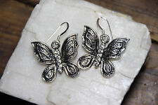 925 sterling silver earrings charm Butterfly Rhinestone pewter 1 pair Hooks Bug