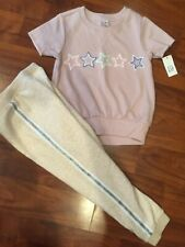 4 T Baby Gap Kids 2pc Mauve Star Shirt Joggers Outfit Girl Nwt