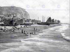 HASTINGS EAST CLIFF WITH BEACH AND FISH MARKET ENGLAND OLD BW PHOTO PRINT 902BWB