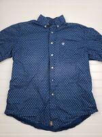 Ariat Western Button Up Shirt Mens Size Medium Blue Cross Design Long Sleeve H20