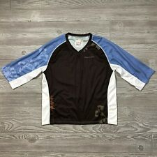 Cannondale Terra Cycling Jersey 3/4 Sleeve Shirt Brown/Blue Floral womens M G38