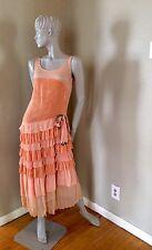 Vintage Peach Hand Tailored 1920s Drop Waist Velvet & Crepe Flapper Dress Deco