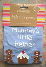 Cooksmart Kids Fun Apron 'Mummy's Little Helper' Blue Gingerbread Man 4-7 Years