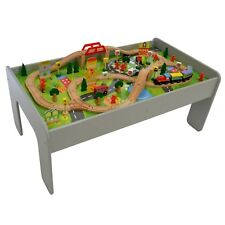 Wooden Train Table Set Toy 90 Piece Railway Set Play Centre