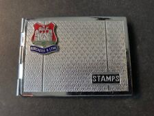 """Antique Chrome Booklet Stampbox, with Blue & Red Green """"Newcastle U Lyme"""""""