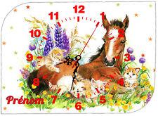 horloge pendule murale cheval mignon personnalisé prénom au choix réf 61