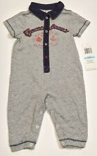 NWT Guess Baby Boy Outfit, nautical. 6-9 mo, Gray/navy/red, snap closures
