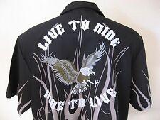 NEW Mens Black Gray Flames Bowling Shirt L Rebel Biker Slogan Chopper Bald Eagle